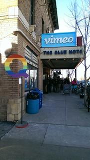 blue Vimeo sign