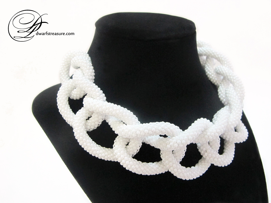 Fashionable white bridal beaded crochet long necklace