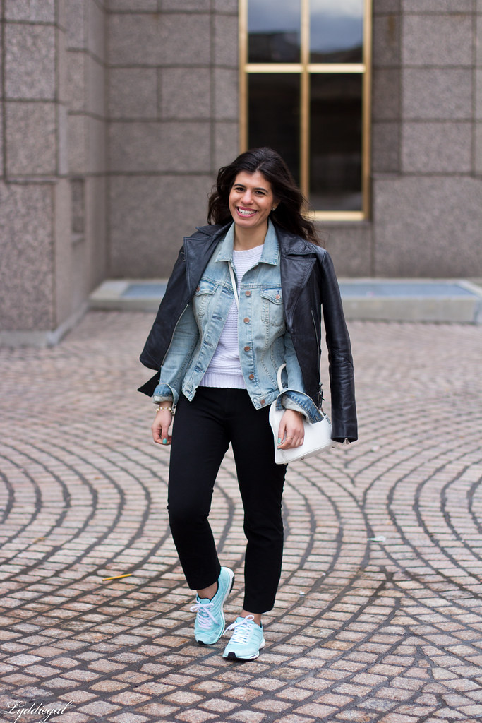 Leather jacket over denim jacket, mint green trainers-1.jpg