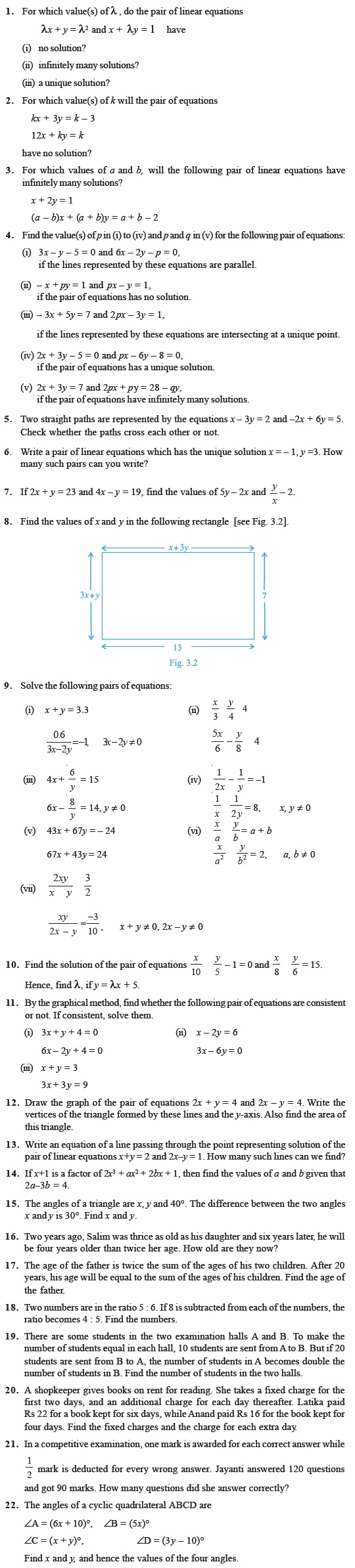 Workbooks solving linear equations with two variables worksheets : Class 10 Important Questions for Maths – Pair of Linear Equations ...