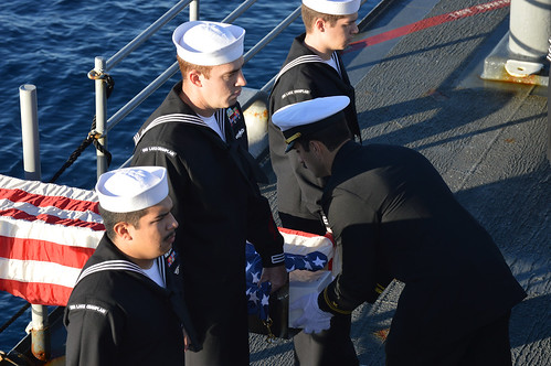USS Lake Champlain Holds Burial at Sea