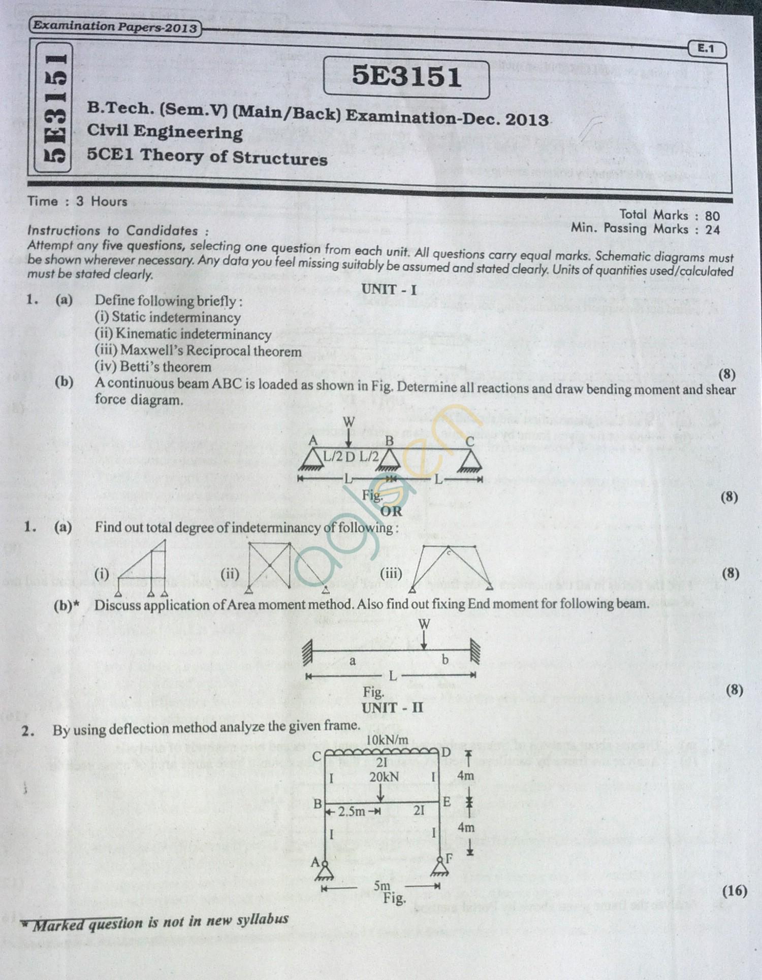 RTU: Question Papers 2013 - 5 Semester - CE - 5E3151