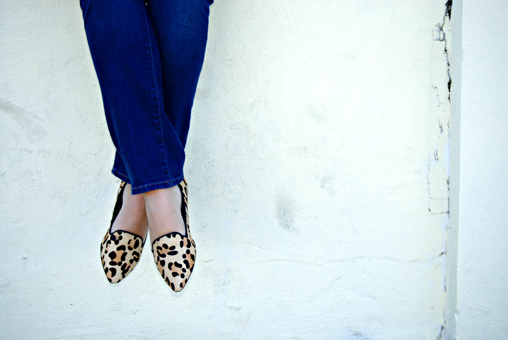 "JustFab ""Lawrence"" leopard pony hair loafers"