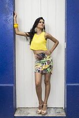pattern, model, clothing, abdomen, yellow, limb, leg, fashion, trunk, skirt, photo shoot, human body, thigh, miniskirt,