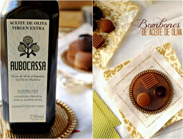 Bombones de Aceite de Oliva, chocolate blanco, chocolate negro, chocolate con leche, AOVE, Aubocassa, Navidad