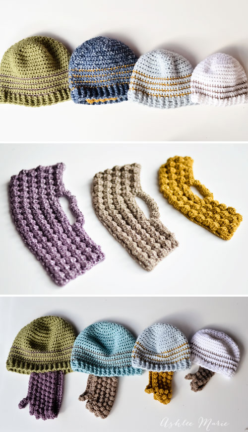 take the striped beanie and a bobble beard and you have bearded beanies, free pattern everyone loves