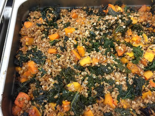 Butternut squash with farro, parmesan, spinach and onion