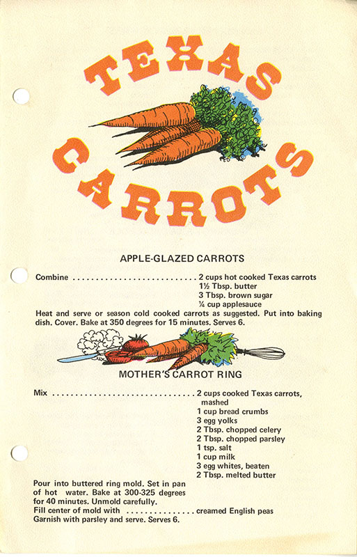 Texas Carrots Cookbook page