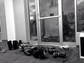Dance Studio Girl Boots Piled Up