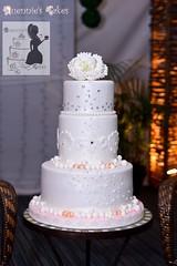 Pearls & Peony Rose Weddding Cake