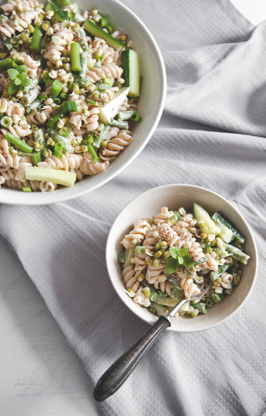 Pasta salad with green beans and tahini dressing