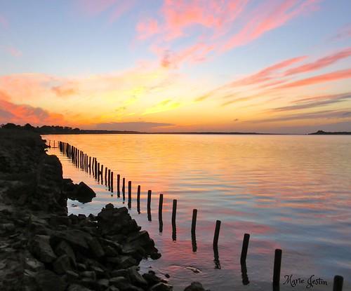 sunset sea france nature brittany bretagne natura channel digue plouescat kernic