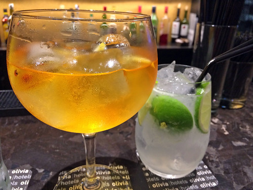 Gin and tonic and caipirinha