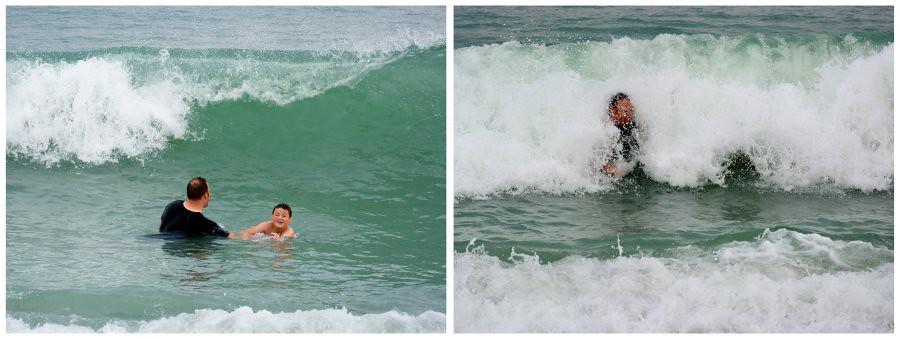 slammed by waves