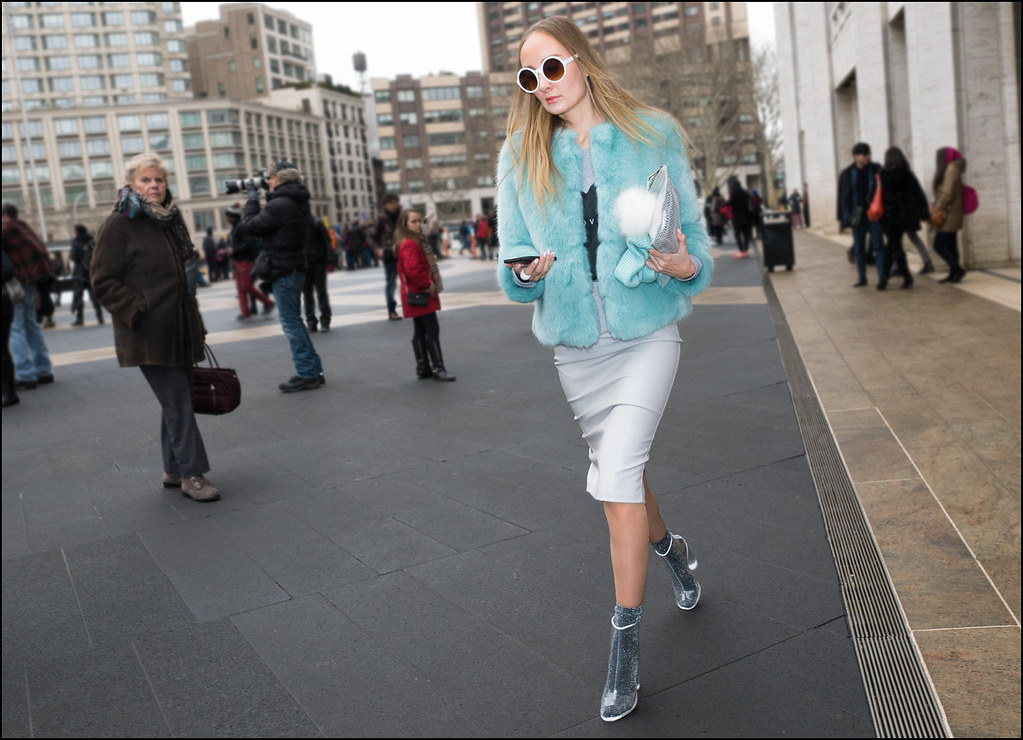 FW2-15  23w light grey pencil skirt light blue fur large white round sunglasses silver glitter sock clear vinyl ankle boots