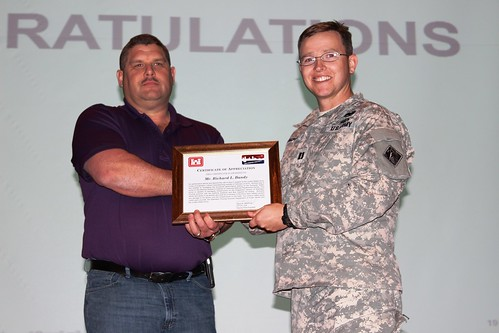 Corps presents certificate