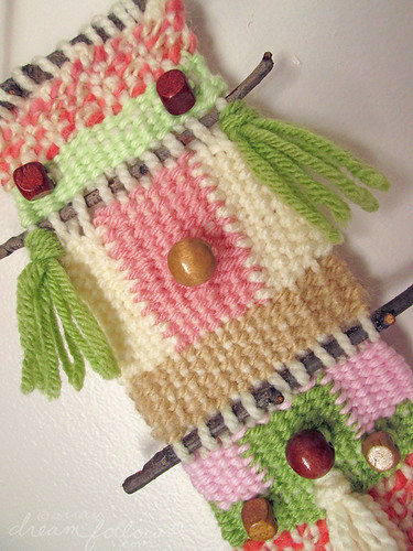 little pink and green weaving