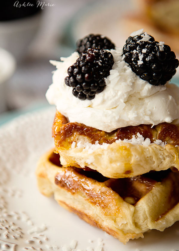 a twist on the traditional liege waffle recipe by making it with coconut. It's subtle but delicious