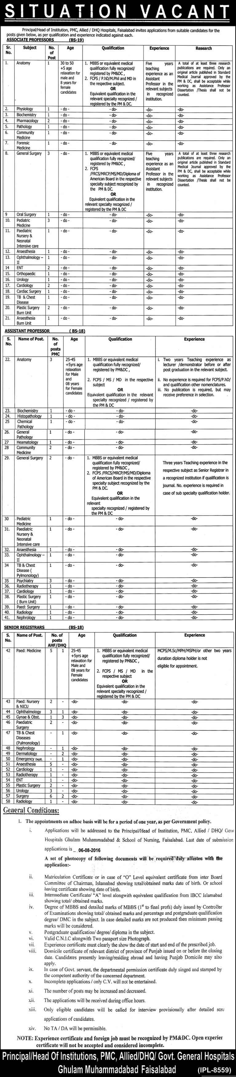 PMC Allied DHQ Hospitals Faisalabad Jobs