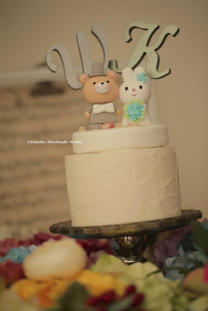 rabbit and bear with handmade initials letters wedding cake topper ...