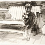 Child and guitar; charcoal on paper, 22 x 30 in, 1994