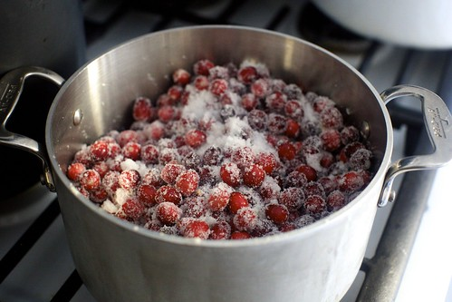 cranberries, sugar and orange zest