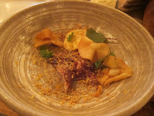 Cured Iberico presa, parsnip, hazelnut