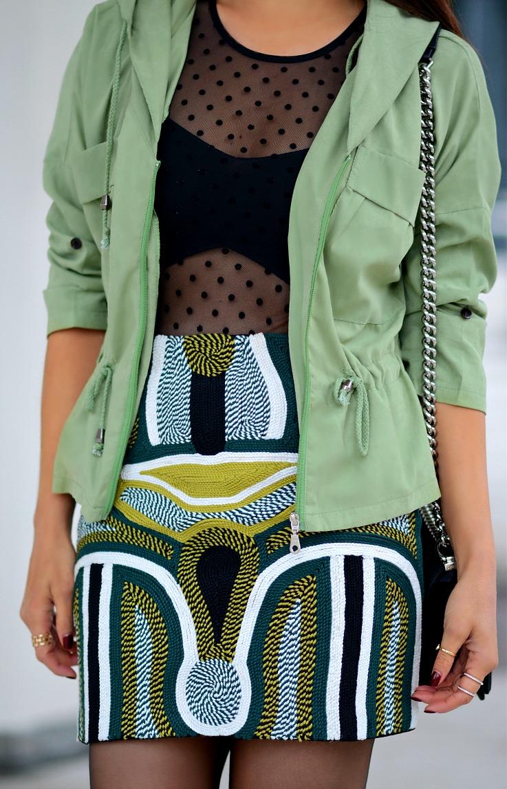 DSC_6513 Choies Army green parka, H&M skirt, Bershka body, Tamara Chloé