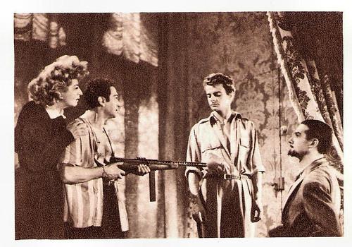 Marianne Oswald, Marcel Dalio, Serge Reggiani and Pierre Brasseur in Les amants de Vérone (1949)