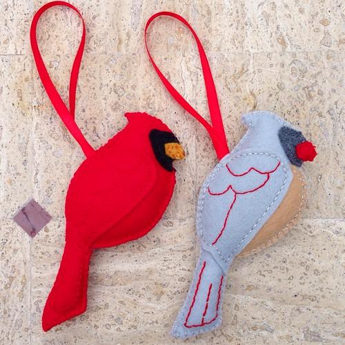 Handmade felt Cardinal ornaments from a friend