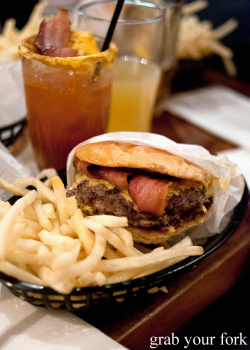 Double cheeseburger with trashcan bacon and fries at Mary's, Newtown