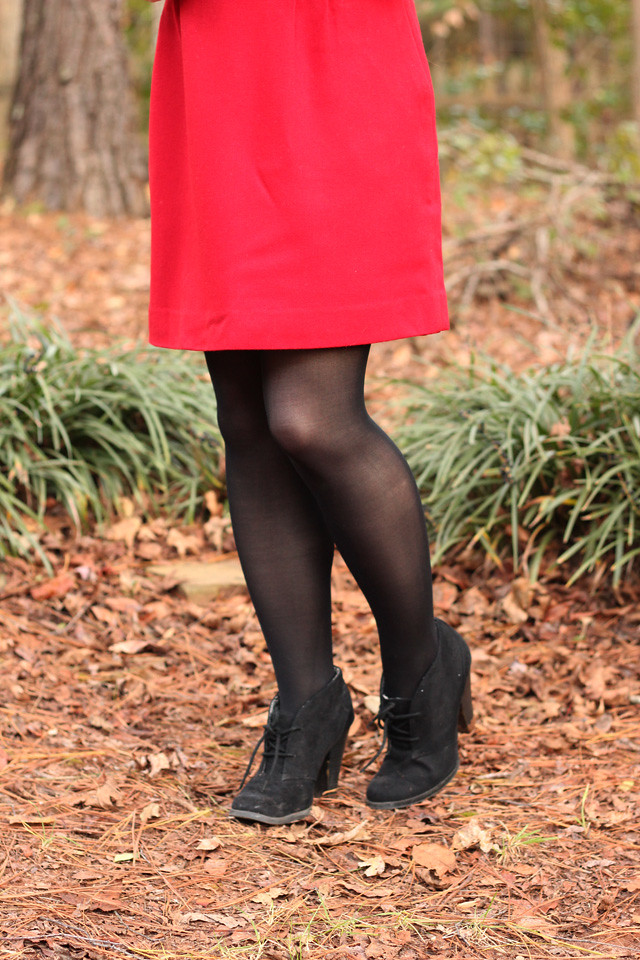 Red Wool Pencil Skirt with Black Tights and Black Lace Up Ankle Boots