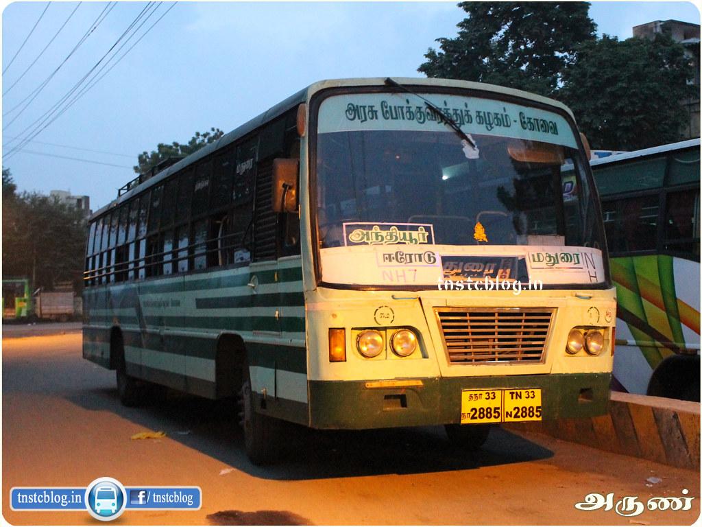 TN-33N-2885 of Anthiyur Depot Route Anthiyur - Madurai via Erode, Kodumudi, Karur, Dindigul.