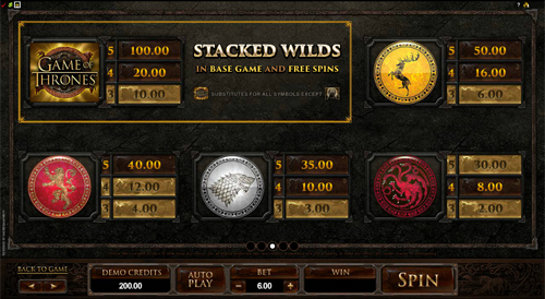 free Game of Thrones - 243 Ways slot payout
