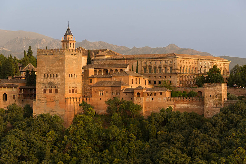 Views of Alhambra, Charles V's palace, from Albaicín