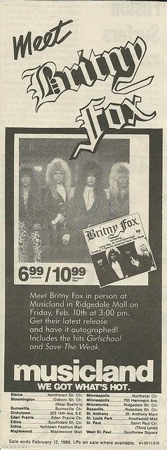 02/10/89 Britny Fox In-Store @ Musicland at Ridgedale Mall, Minnetonka, MN