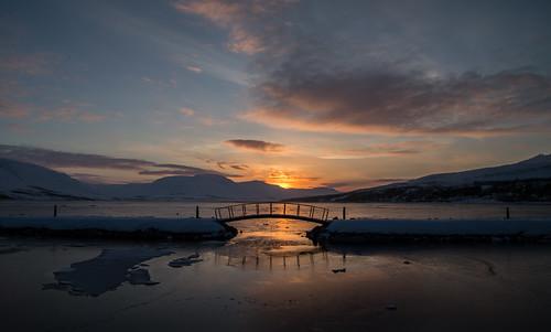 bridge winter light sunset sea sky sun snow nature water sunrise landscape iceland shadows eyjafjordur akureyri eyjafjörður littlebridge eyjafjarðarsveit northiceland
