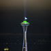 Space Needle after Super Bowl by aaronbrethorst