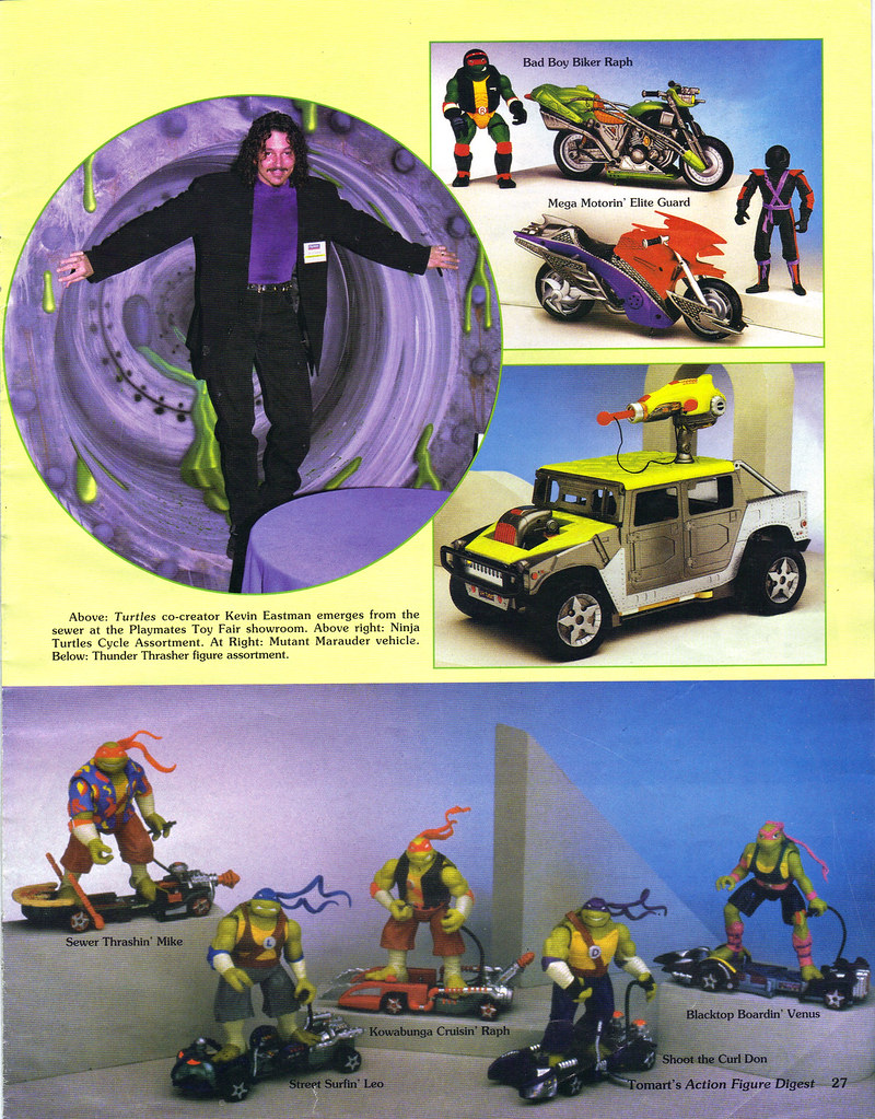 "Tomart's Action Figure Digest #xx :: pgs.26, 27 TOY FAIR '97, PLAYMATES ""NINJA TURTLES: THE NEXT MUTATION / ..Eastman, vehicles & 'THUNDER THRASHERS TMNT'  (( April 1997 )) by tOkKa"