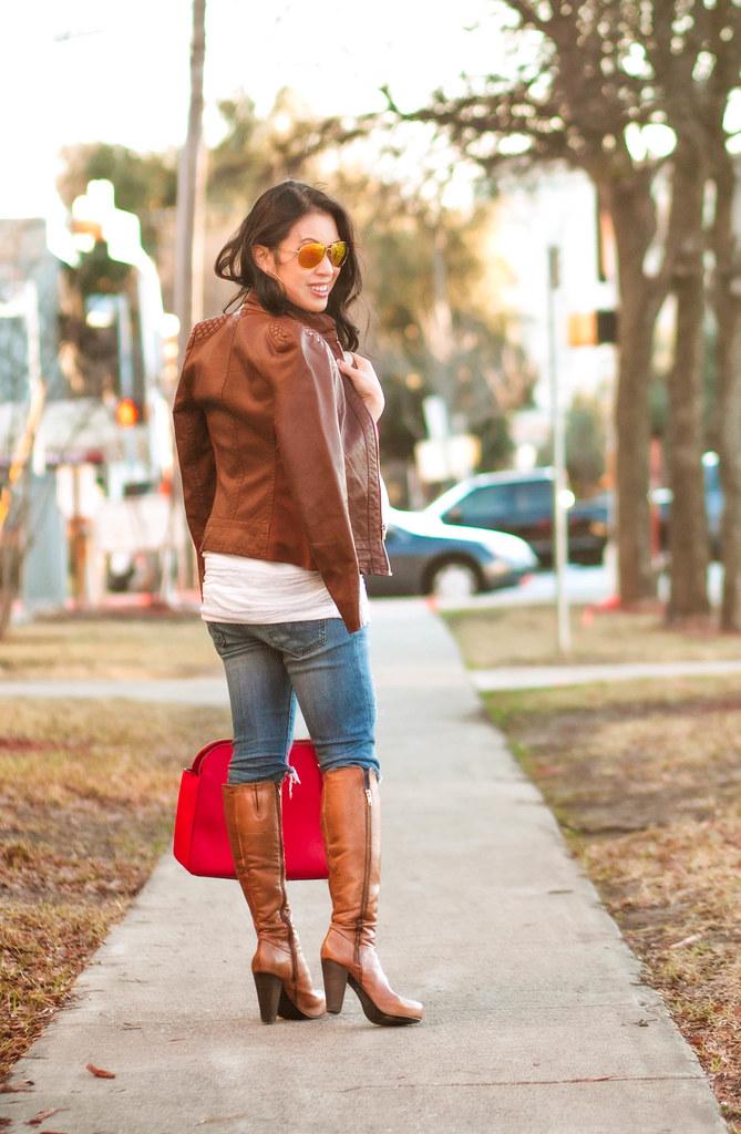 https://cuteandlittle.com | petite fashion blog | cognac leather bomber jacket, motherhood maternity striped ruched tunic, steve madden rikki high-heeled knee-high boots, kate spade bag | fall outfit