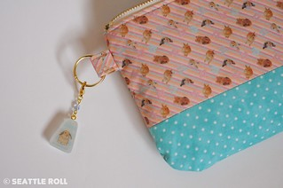 Orange Apollo's Zipper Pouch (Two Tone) + Resin Charm for Bunny Lovers