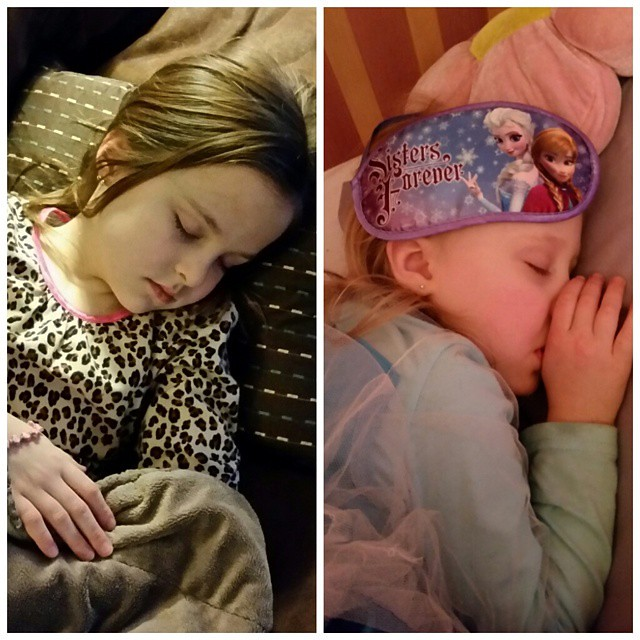 Both girls still napping at 6:40. Better kiss bedtime goodbye tonight!