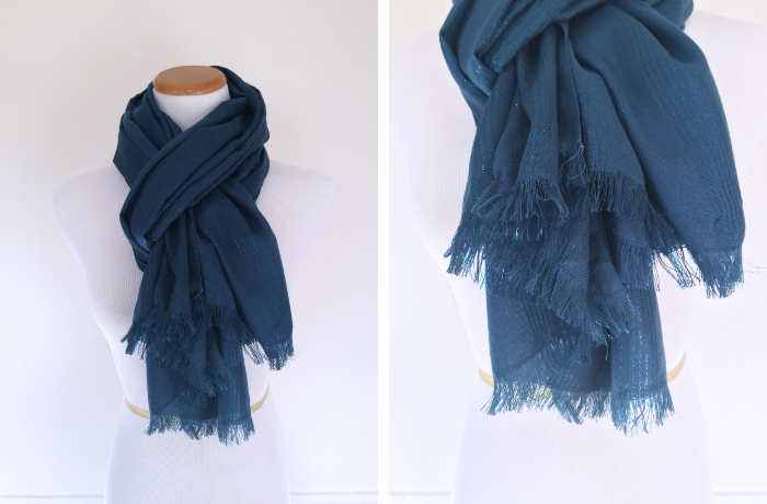 #handmadescarfswap Metallic Striped Scarf with Fringe