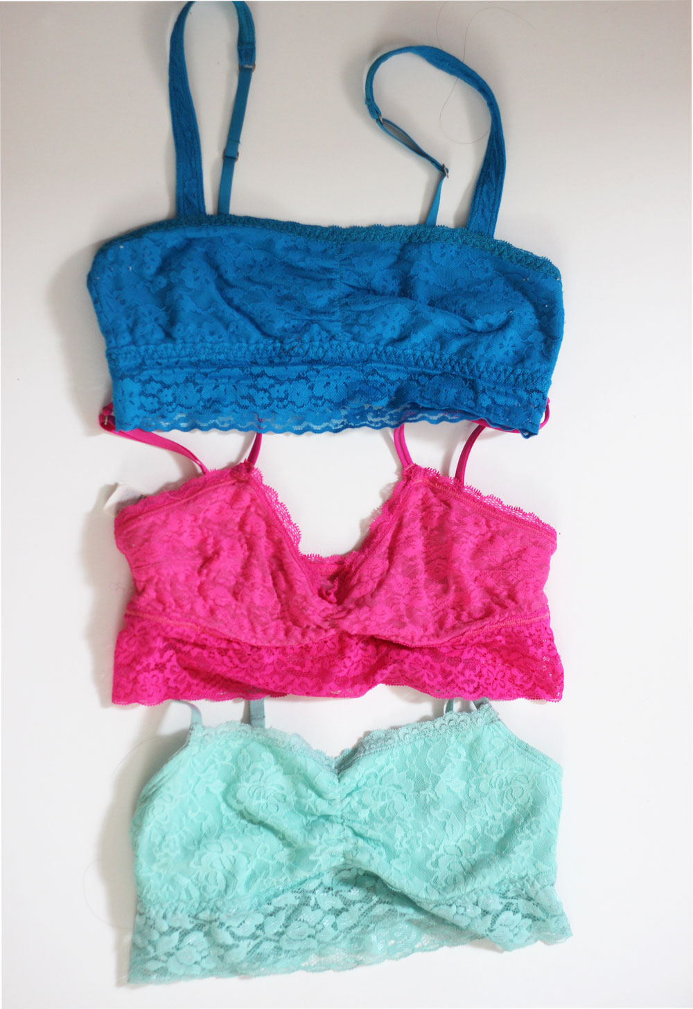 Mint blue and hot pink bralette