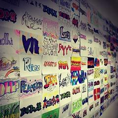 Love the #grade7 grafitti wall in the #middleschool. #uwcsea_east #tgif