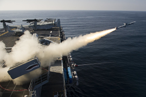 PACIFIC OCEAN - A RIM-7 NATO Sea Sparrow Missile (NSSM) is fired from the forward launcher aboard the Wasp-class amphibious assault ship USS Essex (LHD 2) during a live-fire exercise.