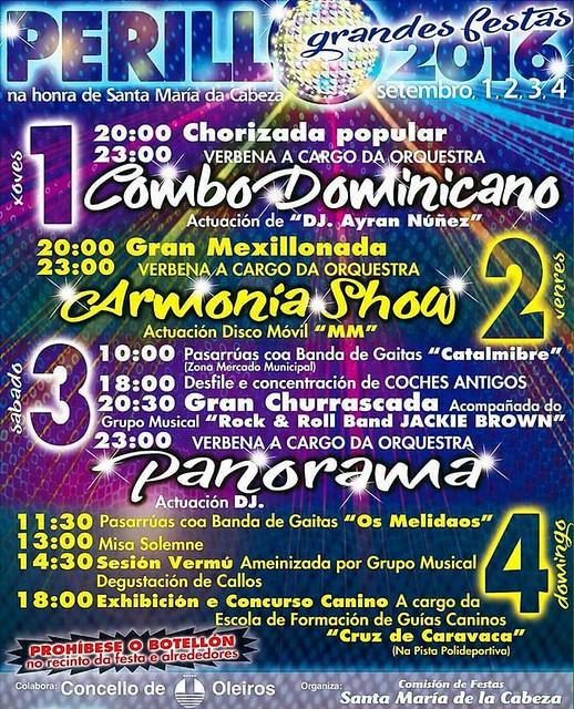 Oleiros 2016 - Festas da Virxe da Cabeza en Perillo - cartel
