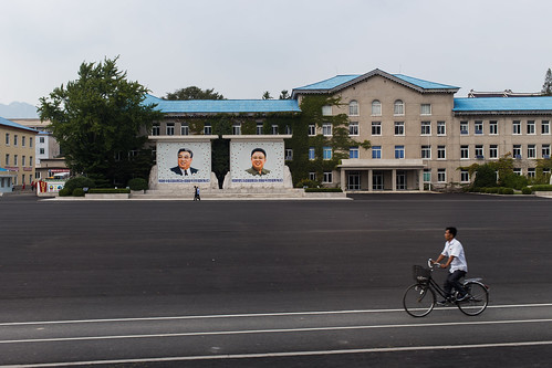 dprk northkorea korea city bike mural picture leader president general square open kaesong