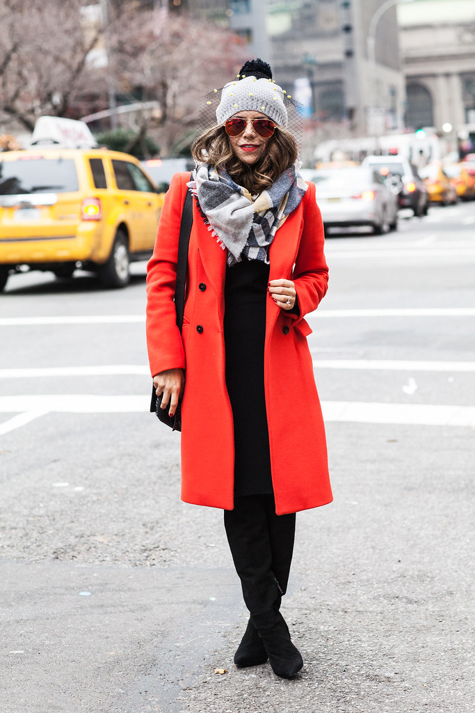 Banana Republic Black Dress Zara Orange Wool Coat J.Crew Blanket Scarf (similar here) Coach Dakotah Handbag Joie Olivia Boots  Rayban Sunglasses Net Covered Beanie