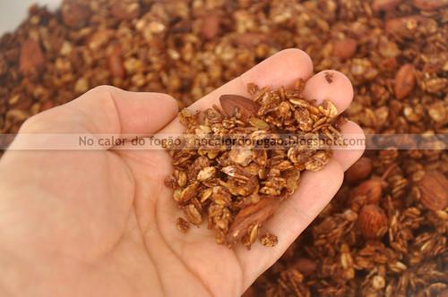Granola de cacau, amêndoas e coco (na mão)